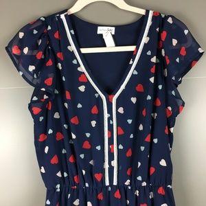 Maison Jules Navy Hearts Chiffon Dress Med